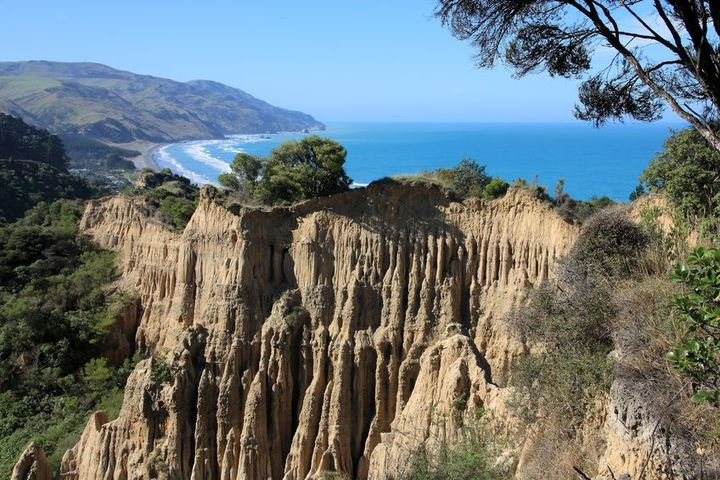 Cathedral Cliffs at Gore Bay in the Hurunui district.
