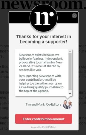 "This is the pitch newsroom.co.nz readers see if they click on Press Patron's to ""become a supporter"" button."