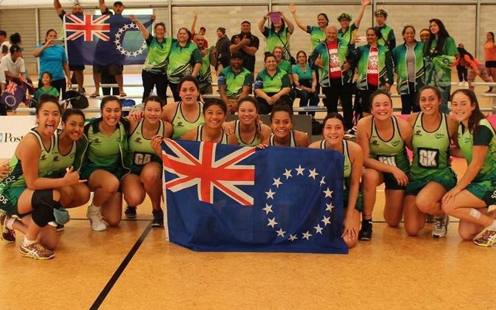 The Cook Islands U21 netball team celebrate qualifying for the 2017 World Youth Cup in Botswana
