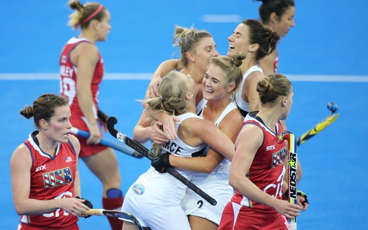 The Black Sticks celebrate a win against The USA