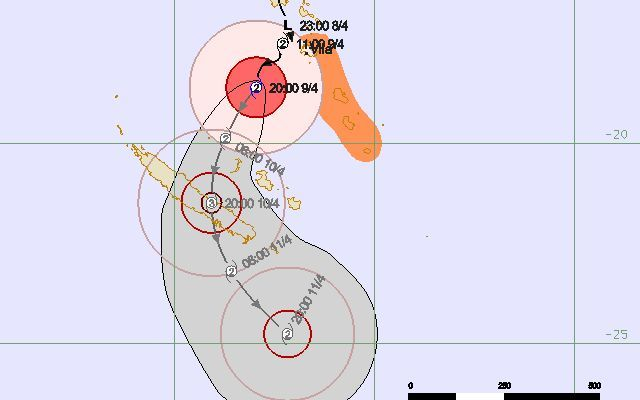 Tracking map for cyclone Cook by the Vanuatu Meteorology Service.