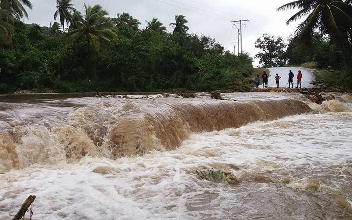 A creek in North Efate has rendered the ring road temporarily impassable. It's designed to handle overflow, but water volumes are unsafe.