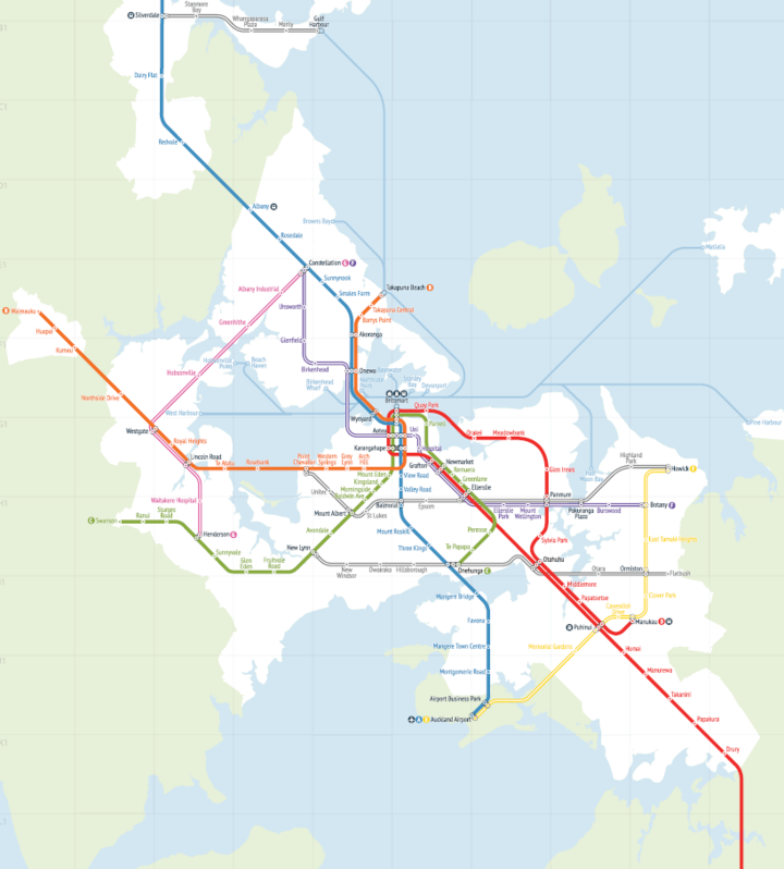 Greater Auckland proposes a network of rapid transit routes extending further north and north-west than presently planned