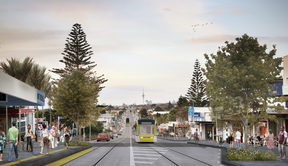 An artists' visualisation for Auckland Transport of light rail in Mt Roskill.