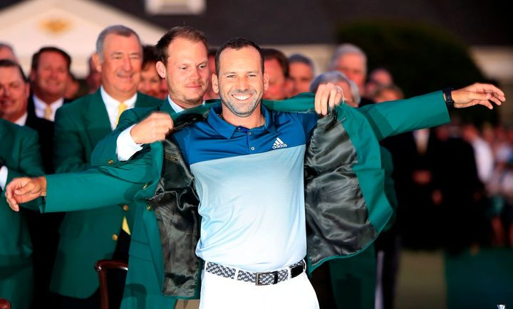 Sergio Garcia is presented with his Green Jacket.