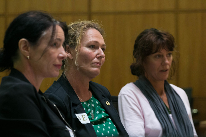 Rose Renton (centre) answers questions from the Health Committee on her petition to reform access to medicinal cannabis with Lawyer Sue Grey (left).