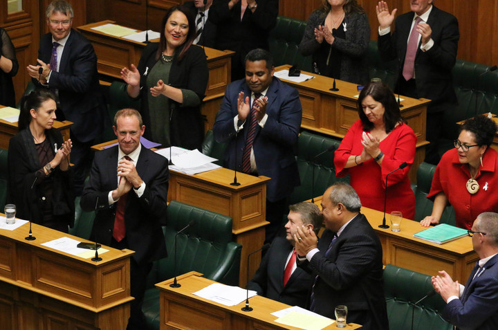 Departing Labour MP and former Labour leader David Cunliffe is applauded by his colleagues after giving his valedictory speech.