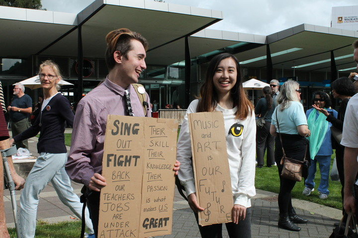 Students at protest rally at University of Waikato