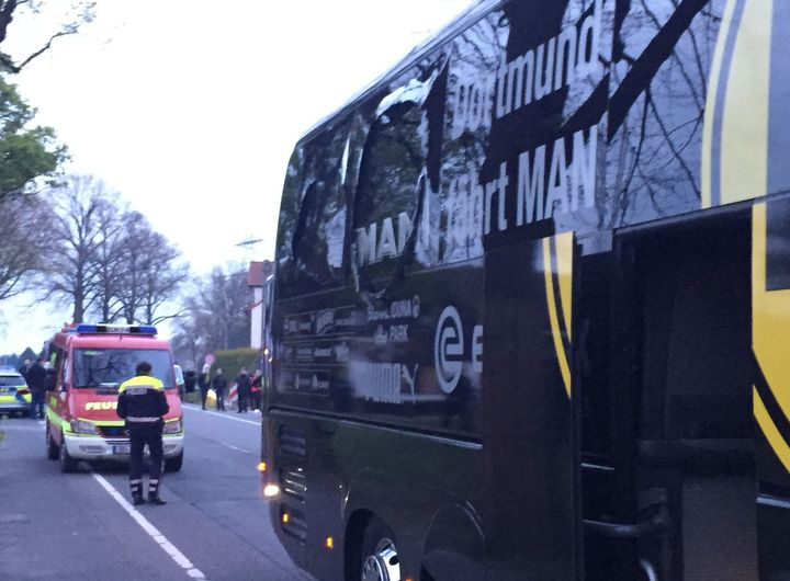 The damaged Borussia Dortmund bus.
