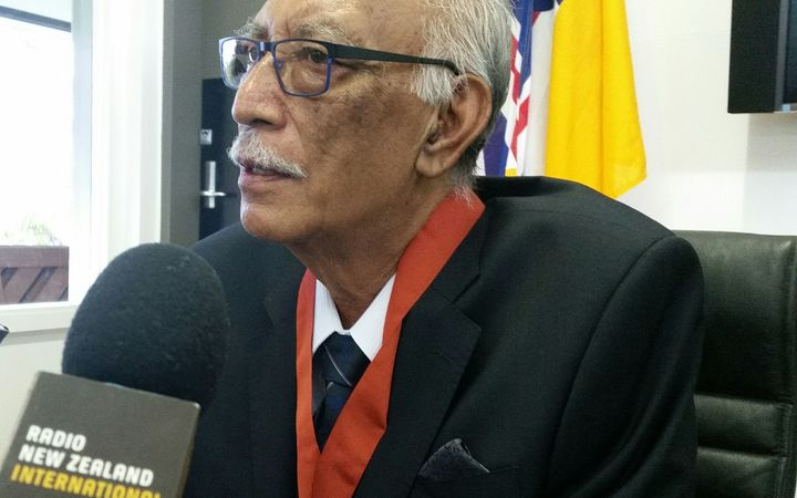 Niue's premier Sir Toke Talagi being interviewed in Niue March 2017