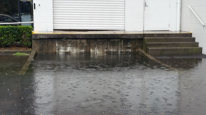 Flooding at the carpark of Three Kings in Auckland.