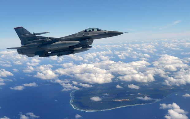 Guam is strategically important to the United States, housing both an Air Force and Navy base. Here, a US F-16 flies along the island's coastline.