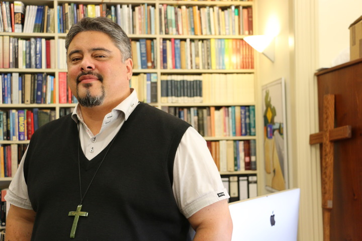 Bishop Don Tamihere in his office at Te Raukahikatea house, Gisborne.
