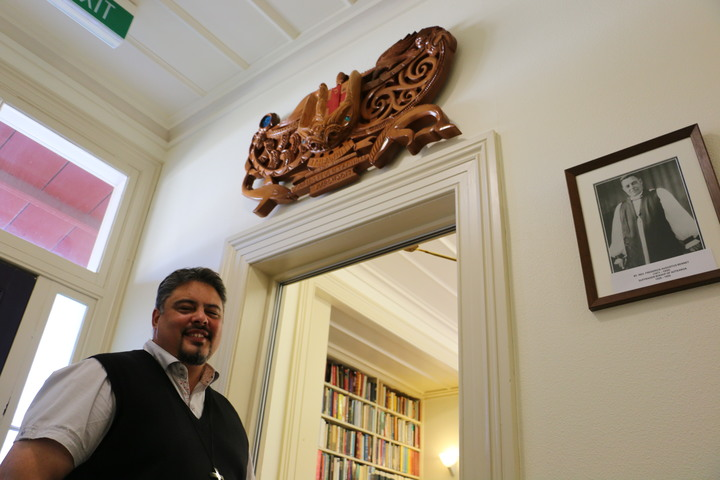 The carving upon the door was a tāonga given to him at his ordination in March this year.