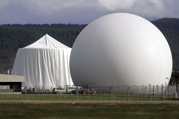 Damage to one of the domes at the Waihopai defence area satellite spy station.