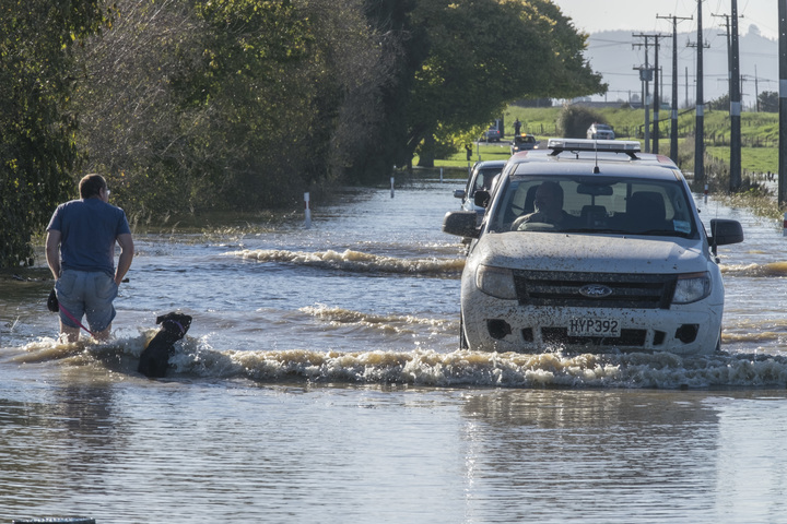 A person takes his dog through floodwaters on Otaiki Road, as council vehicles drive through the morning after the town of Edgecumbe was flooded by a burst stopbank.    Friday 7 April 2017