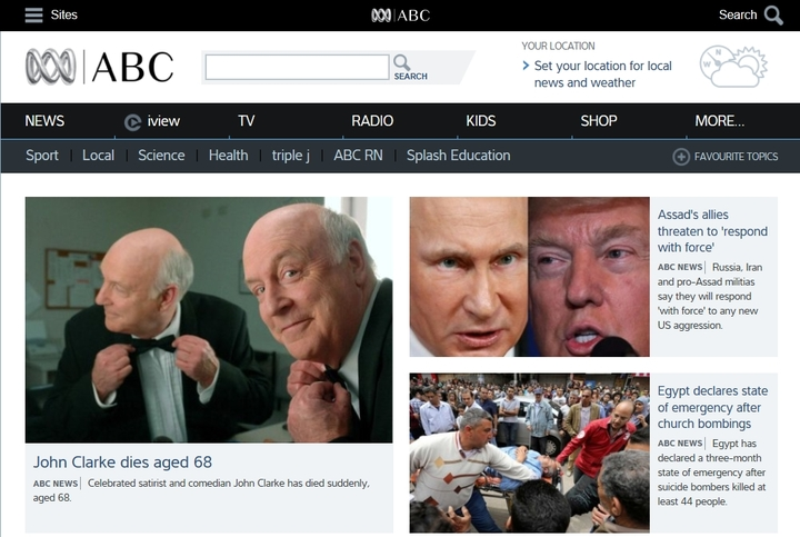 John Clark's death puts Putin and Trump in the shade in the website of ABC News.