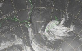 Satellite imagery from MetService shows the storm's position about 10pm Thursday.