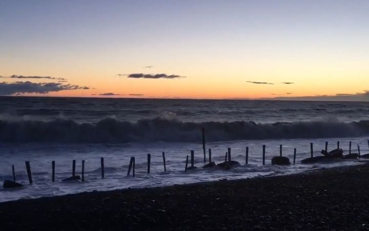 Waters in Hawke's Bay were still high as the sun was rising about 6.30am.