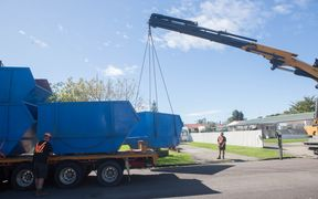 Skip bins were delivered in Edgecumbe yesterday to help with the clean-up of the town.