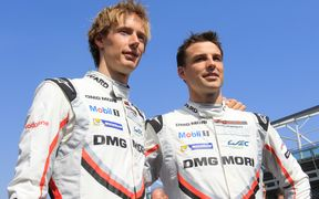 Brendon Hartley (left), and Earl Bamber driving for Porsche.
