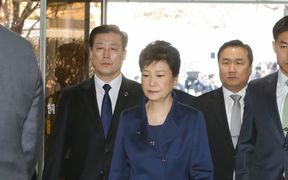 Ousted South Korean president Park Geun-hye arrives for a court hearing at the Seoul Central District Court on 30 March.
