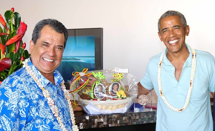 French Polynesia's President Edouard Fritch and former US President Barack Obama
