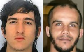This combination of two handout pictures released by the French Police on April 18, 2017 and created on April 18, 2017 shows Clement Baur (L) and Mahiedine Merabet (R) arrested in Marseille, southern France, on April 18, 2017