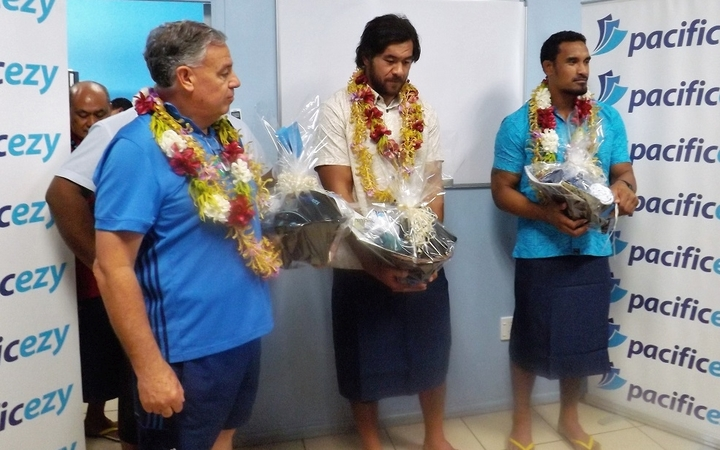 Steven Luatua and Jerome Kaino are in Samoa to promote the Blues Super Rugby match against the Reds in Apia in June.