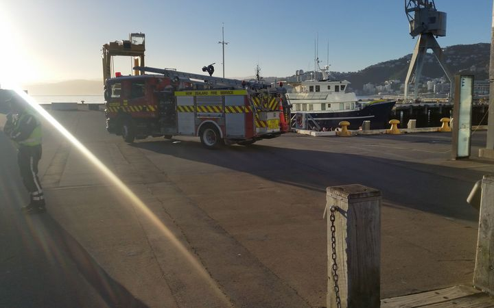 The Fire Service and police work to recover a body from the waters near Queens Wharf in Wellington.