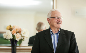 A portrait of Jim Bolger at his home in Waikanae in 2016
