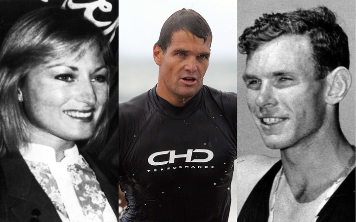 Marathon runner Allison Roe, surf life saving Ironman Cory Hutchings and Sir Peter Snell.