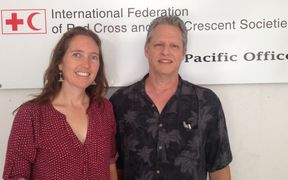 Head of the Pacific IFRC Office, Kathryn Clarkson and the Marshall Island's Jack Niedenthal