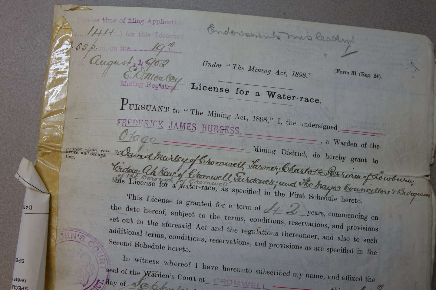 Photo of 1902 document