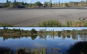 The Mata Kopae/St Annes Lagoon in March (top), and in April, after the rain.