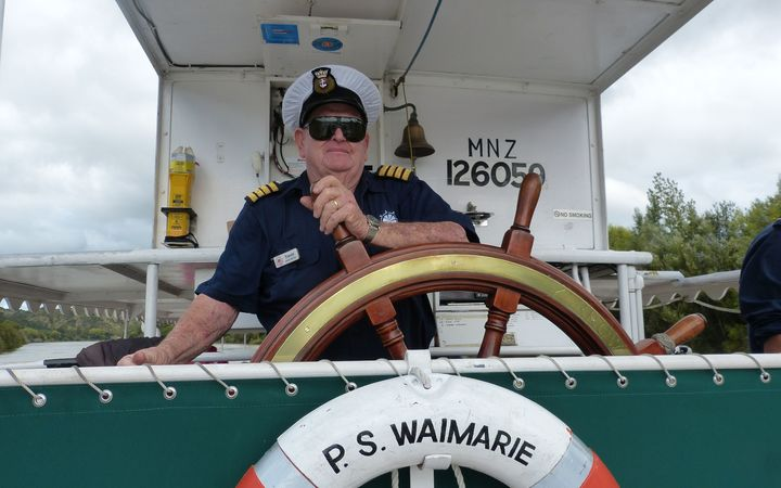 Trevor Gibson, the 82-year-old skipper of the Waimarie Paddle Steamer.
