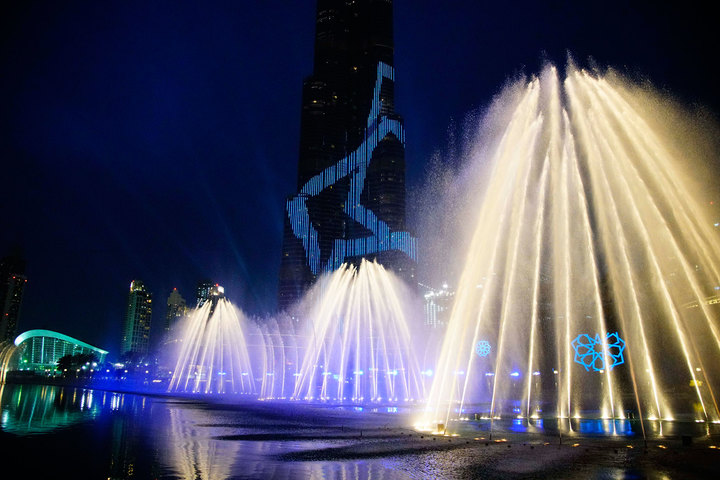 Dubai Expo 2020 logo launch event at the Dubai Fountain on March 27, 2016.