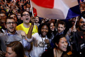 Supporters of Emmanuel Macron, presidential candidate for the En Marche! movement.