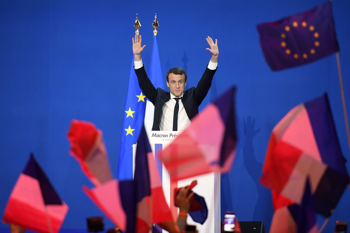 Emmanuel Macron speaking to supporters after the first round of voting in the French presidential election.