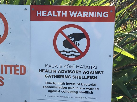 Health warning sign in front of the Waiotahe estuary pipi beds.