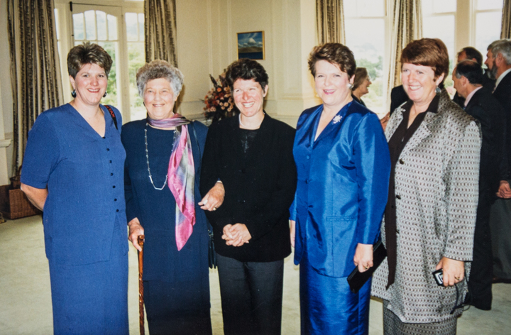 Jenny Shipley with her three sisters and mother, the day she was sworn in as New Zealand's first woman Prime Minister.