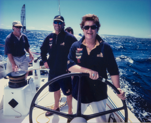 Jenny Shipley at the helm of Team NZ, with Russell Coutts, February 1994