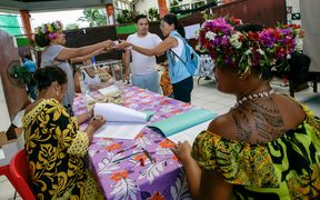 Voters cast their ballots at a polling station in Tahiti for the French presidential election. Voters in French Polynesia voted in favour of centre-right candidate Francois Fillon.