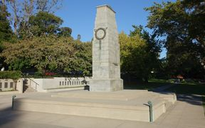 The cenotaph in Memorial Gardens, Hamilton.