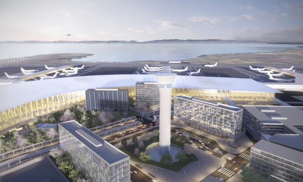 An artist's impression of how Auckland Airport could look in 30 years.