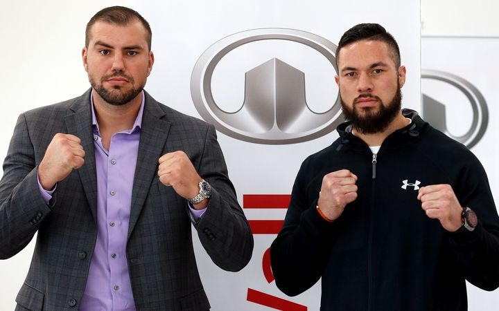 Razvan Cojanu (L) and Joseph Parker face off during a press conference ahead of the WBO world heavyweight championship boxing title fight scheduled for May 6.