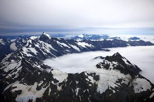 An aerial view of Aoraki Mt Cook.