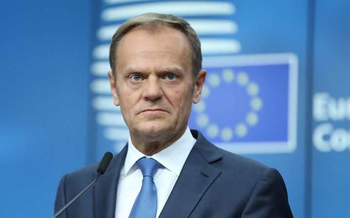 President of the European Council Donald Tusk speaks during a press conference after an EU Council meeting on April 29, 2017 in Brussels, Belgium.