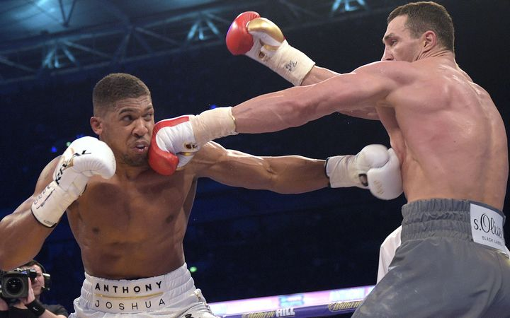 Anthony Joshua and Wladimir Klitschko fight at Wembley Stadium in front of a 90 thousand strong crowd.