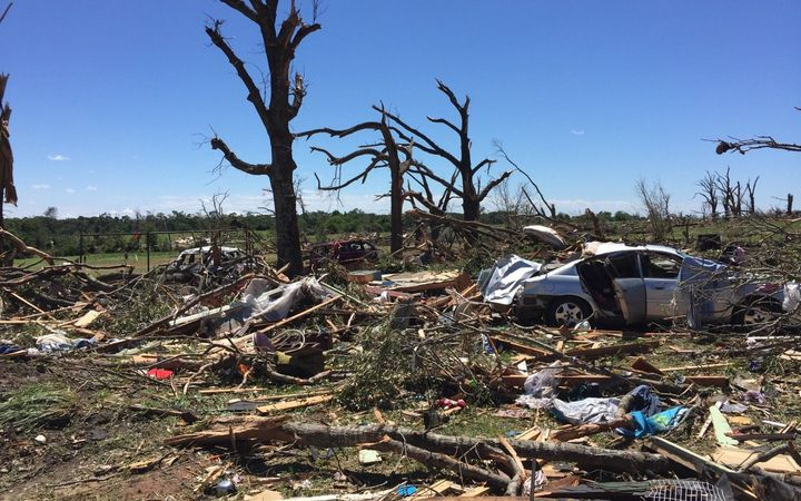 A photo from the National Weather Service Fort Worth shows some of the devastation caused by the tornadoes.